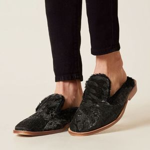 Free People Butterfly Effect Mule Faux Fur black